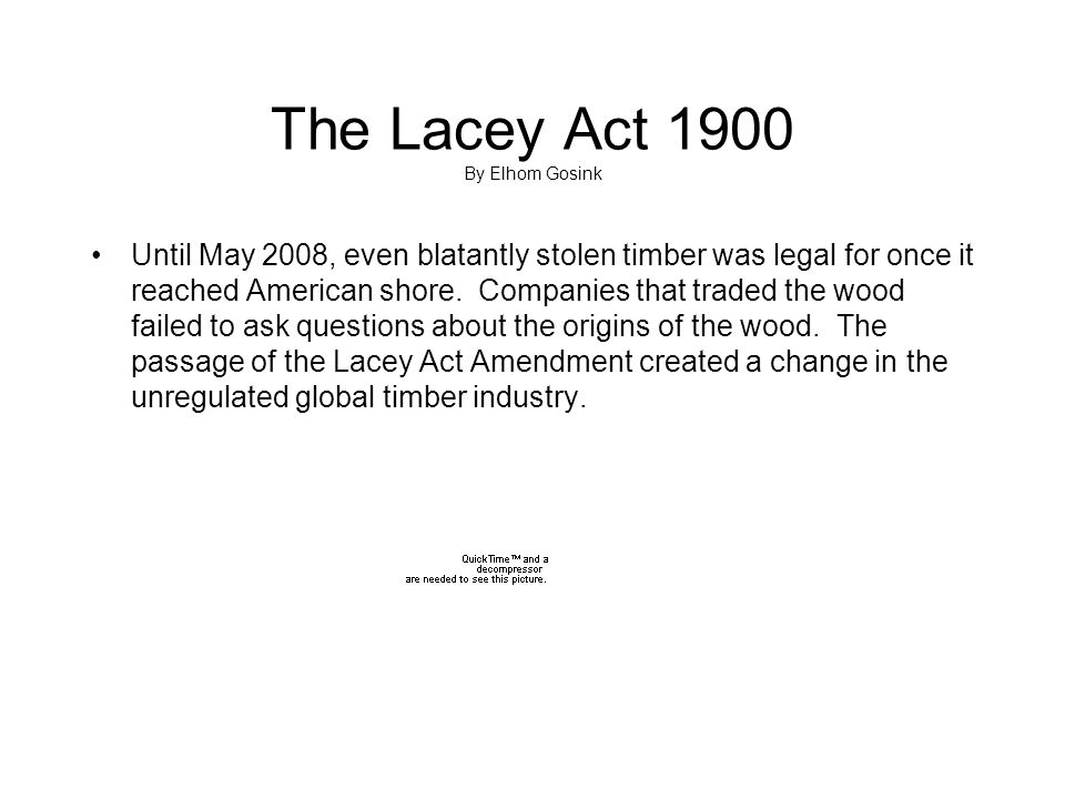 The Lacey Act 1900 By Elhom Gosink Until May 2008, even blatantly stolen timber was legal for once it reached American shore. Companies that traded th