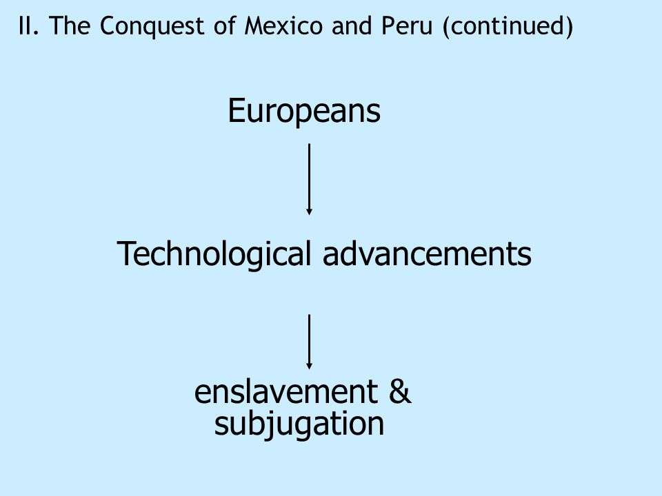 II. The Conquest of Mexico and Peru (continued) Europeans Technological advancements enslavement & subjugation