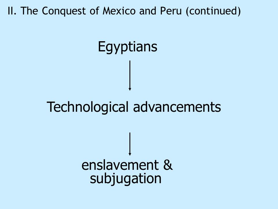 II. The Conquest of Mexico and Peru (continued) Egyptians Technological advancements enslavement & subjugation