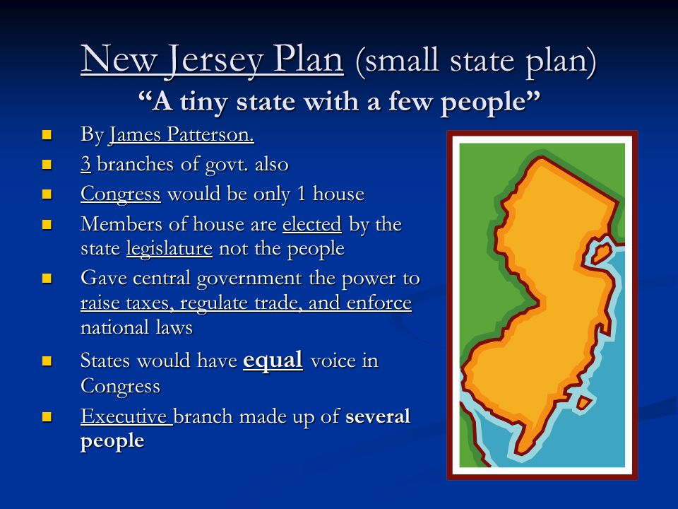 New Jersey Plan (small state plan) A tiny state with a few people By James Patterson. By James Patterson. 3 branches of govt. also 3 branches of govt.