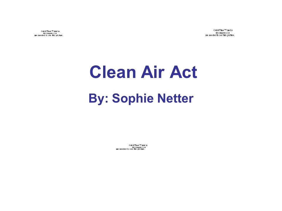 Clean Air Act By: Sophie Netter