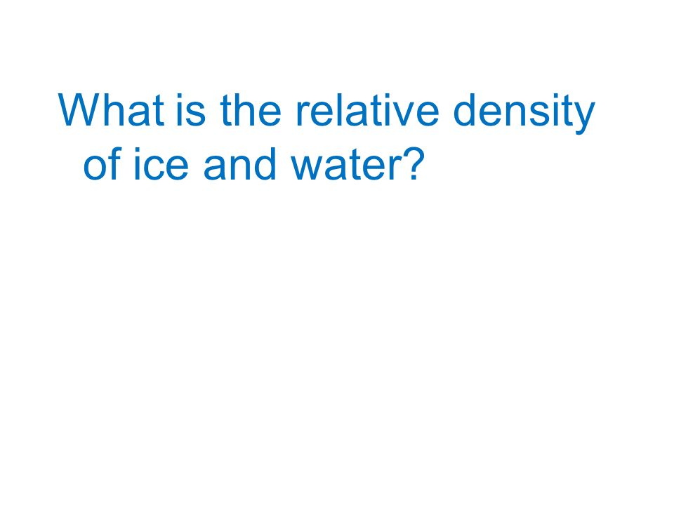 What is the relative density of ice and water?