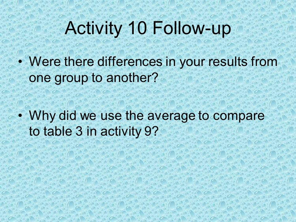 Activity 10 Follow-up Were there differences in your results from one group to another.