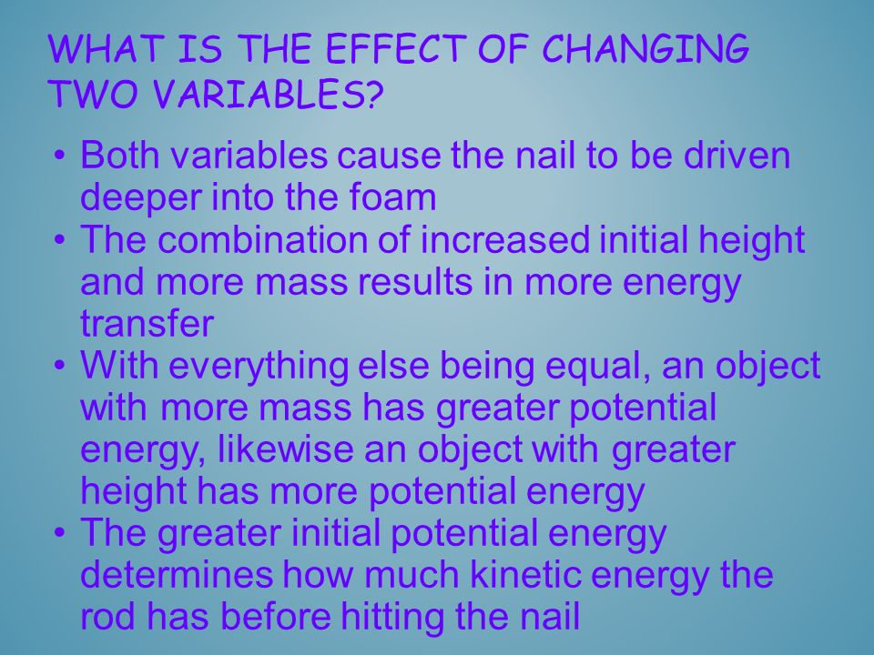 WHAT IS THE EFFECT OF CHANGING TWO VARIABLES? Both variables cause the nail to be driven deeper into the foam The combination of increased initial hei