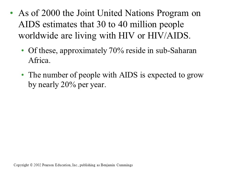 As of 2000 the Joint United Nations Program on AIDS estimates that 30 to 40 million people worldwide are living with HIV or HIV/AIDS. Of these, approx