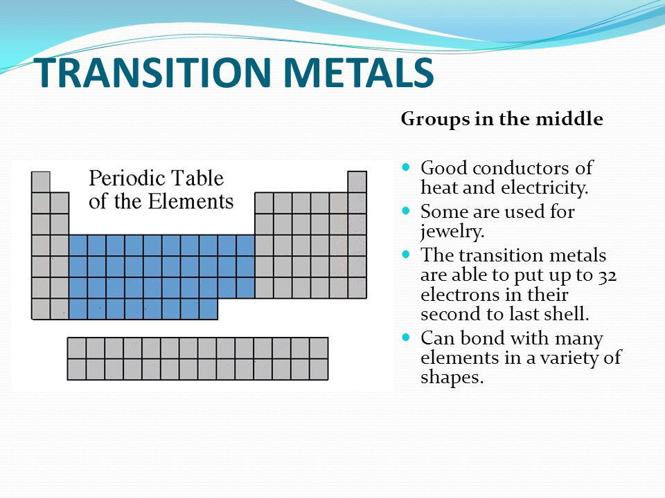TRANSITION METALS Groups in the middle Good conductors of heat and electricity. Some are used for jewelry. The transition metals are able to put up to