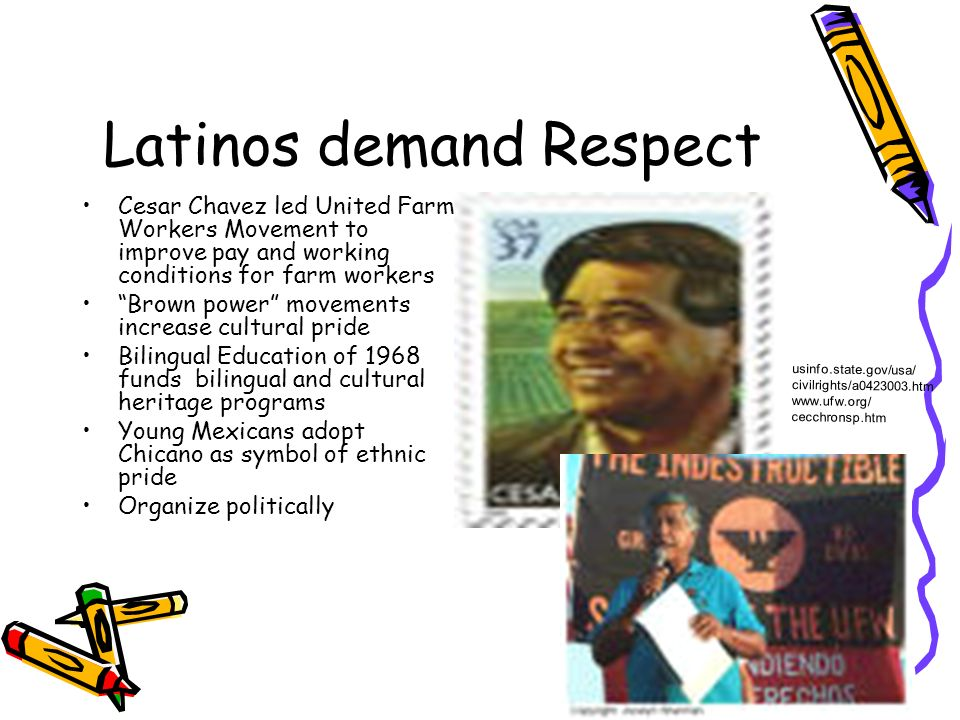 Latinos demand Respect Cesar Chavez led United Farm Workers Movement to improve pay and working conditions for farm workers Brown power movements incr
