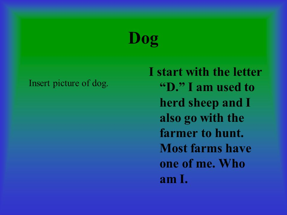 Dog I start with the letter D. I am used to herd sheep and I also go with the farmer to hunt. Most farms have one of me. Who am I. Insert picture of d