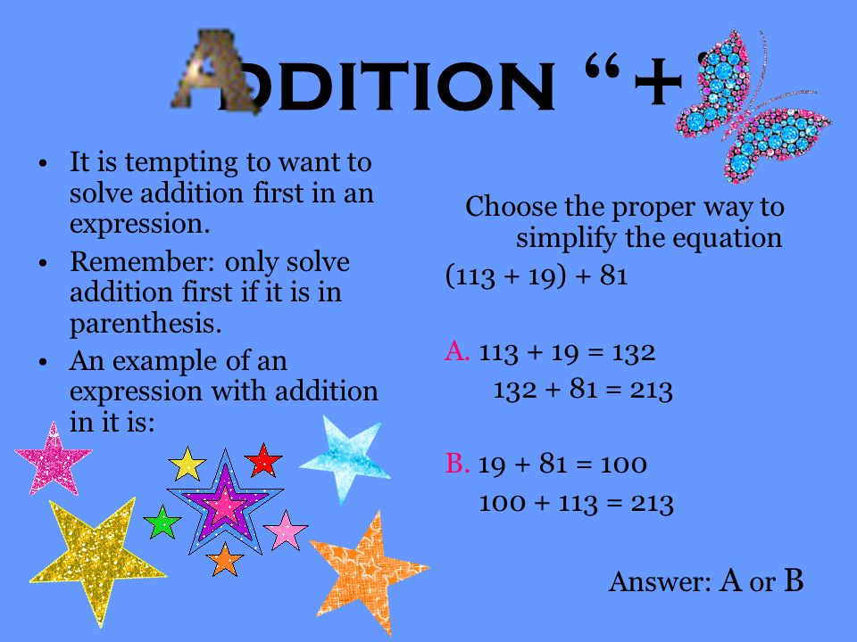 ivision ÷ Division is splitting a larger number into smaller parts. Remember to check your division with multiplication. An example of an expression w