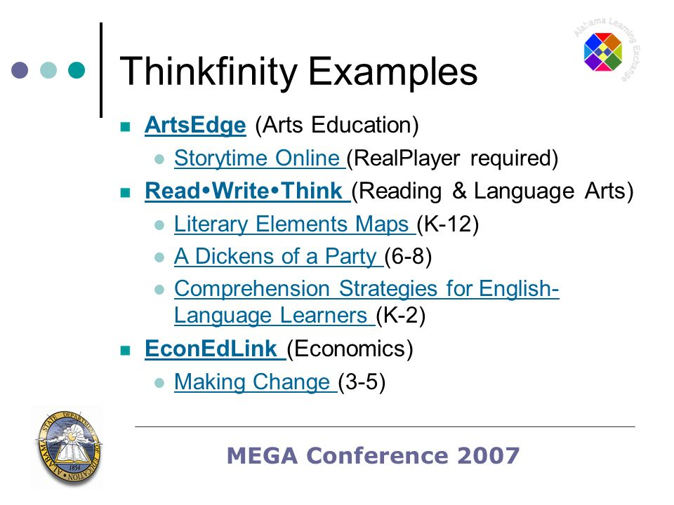 MEGA Conference 2007 Thinkfinity Examples ArtsEdgeArtsEdge (Arts Education) Storytime Online (RealPlayer required) Storytime Online Read Write Think Read Write Think (Reading & Language Arts) Literary Elements Maps (K-12) Literary Elements Maps A Dickens of a Party (6-8) A Dickens of a Party Comprehension Strategies for English- Language Learners (K-2) Comprehension Strategies for English- Language Learners EconEdLink EconEdLink (Economics) Making Change (3-5) Making Change