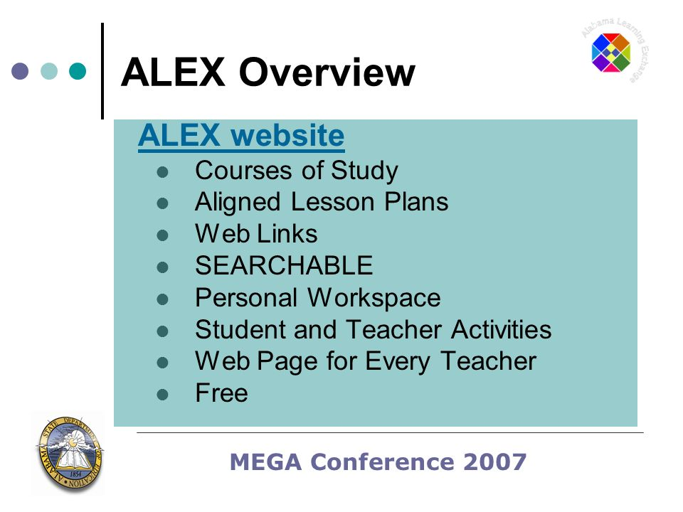 MEGA Conference 2007 ALEX Overview ALEX website Courses of Study Aligned Lesson Plans Web Links SEARCHABLE Personal Workspace Student and Teacher Activities Web Page for Every Teacher Free