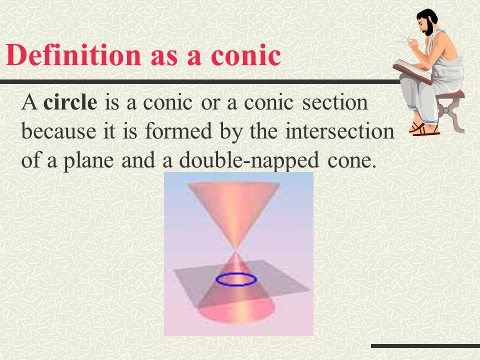What is a circle? A conic formed when …. A second degree equation… A locus of points…