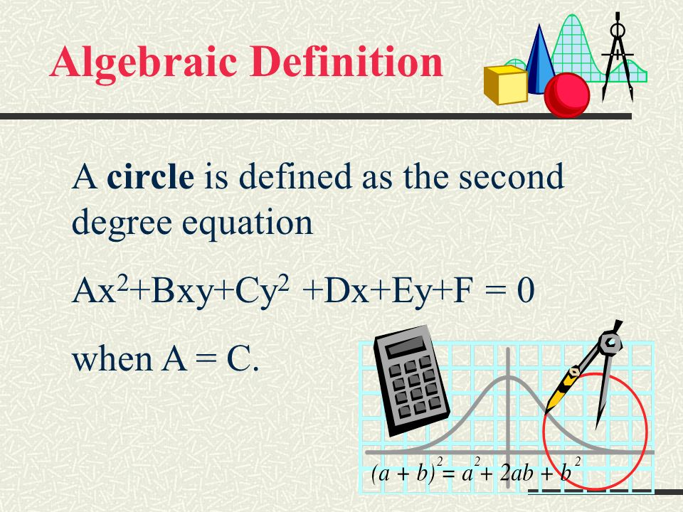 Definition as a conic A circle is a conic or a conic section because it is formed by the intersection of a plane and a double-napped cone.