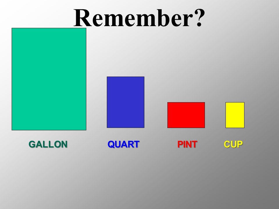 QUARTPINTCUPGALLON Remember