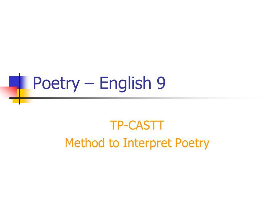 TP-CASTT Does poetry puzzle you.
