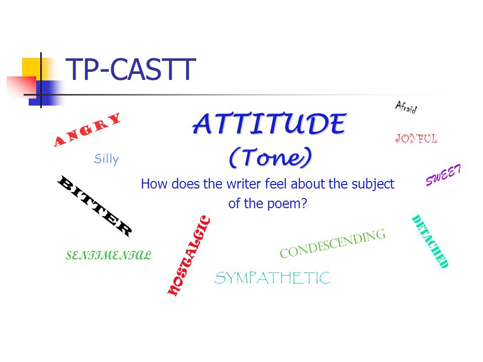 TP-CASTT ATTITUDE(Tone) How does the writer feel about the subject of the poem? Angry Silly Afraid JOYFUL SWEET BITTER DETACHED CONDESCENDING NOSTALGI