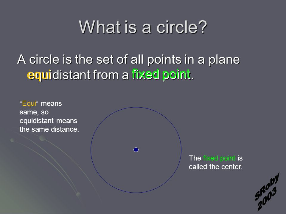 What is a circle. A circle is the set of all points in a plane equidistant from a fixed point.