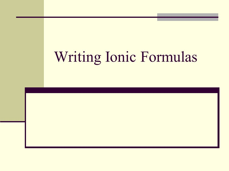 How to write a formula from the name.Write the element symbols given by the name.