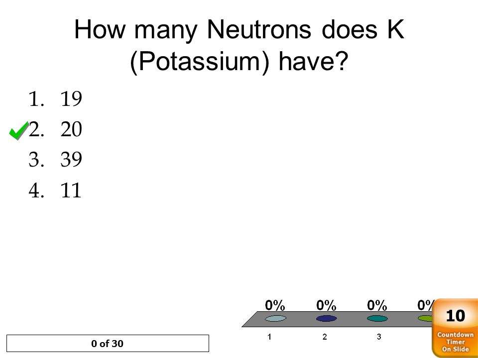 How many Neutrons does K (Potassium) have? 1.19 2.20 3.39 4.11 0 of 30 10