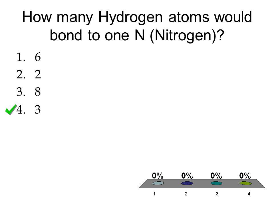 How many Hydrogen atoms would bond to one N (Nitrogen)? 1.6 2.2 3.8 4.3
