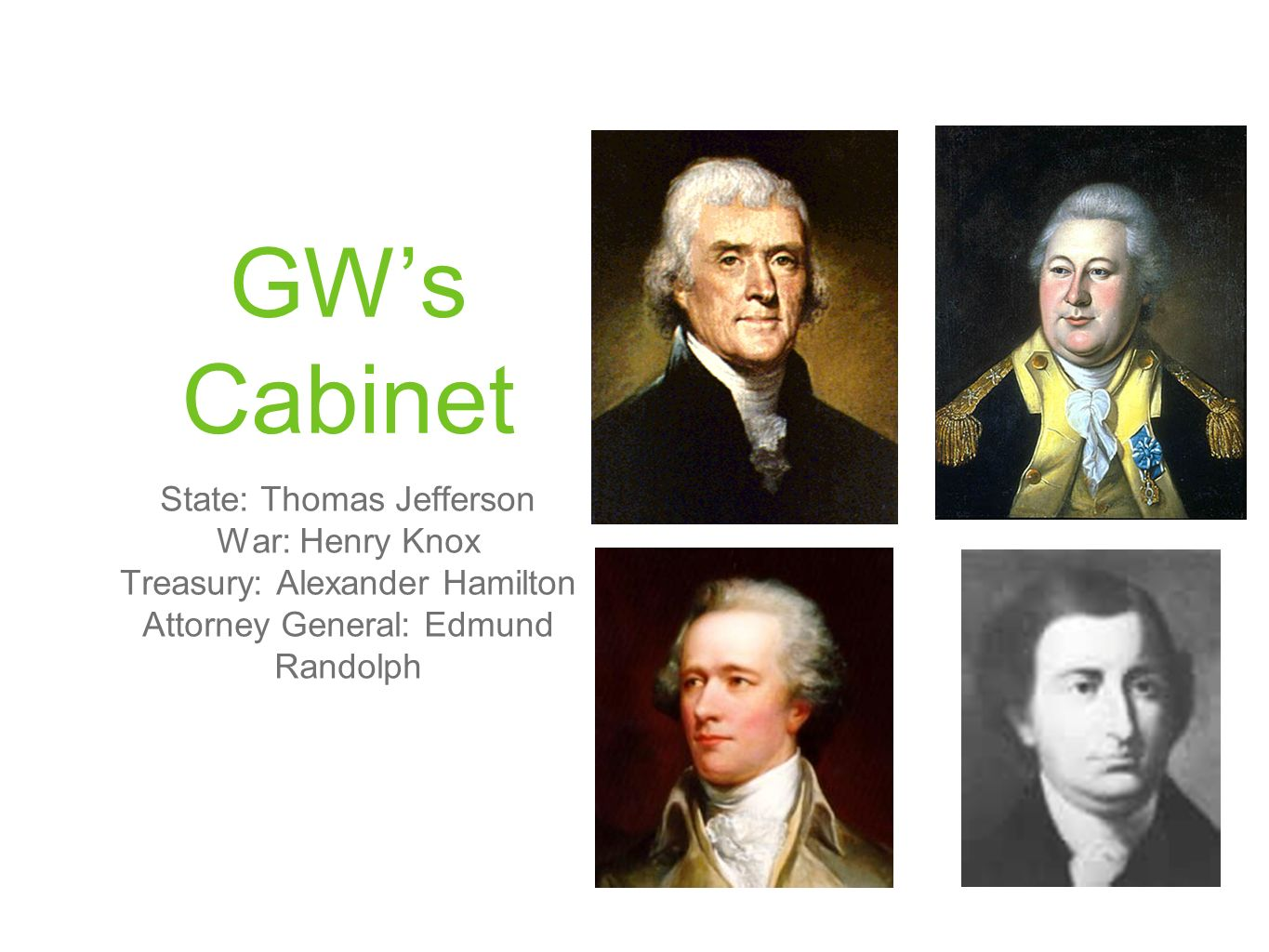 GWs Cabinet State: Thomas Jefferson War: Henry Knox Treasury: Alexander Hamilton Attorney General: Edmund Randolph