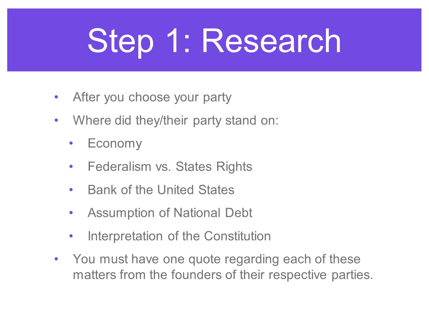 After you choose your party Where did they/their party stand on: Economy Federalism vs. States Rights Bank of the United States Assumption of National