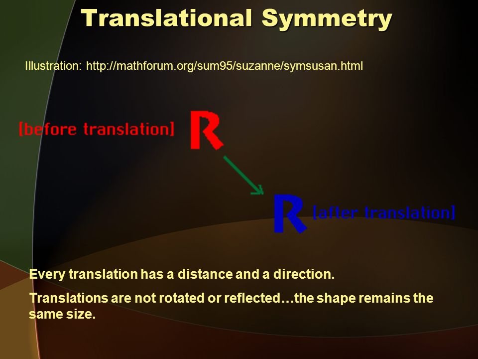 Translational Symmetry Illustration: http://mathforum.org/sum95/suzanne/symsusan.html Every translation has a distance and a direction.
