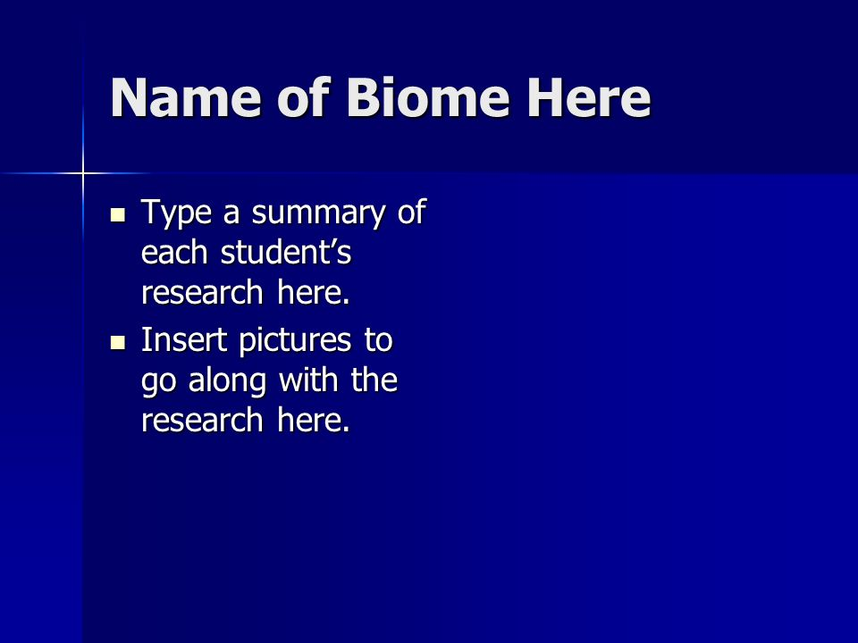 Name of Biome Here Type a summary of each students research here. Type a summary of each students research here. Insert pictures to go along with the