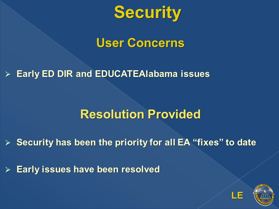 Security User Concerns Early ED DIR and EDUCATEAlabama issues Early ED DIR and EDUCATEAlabama issues Resolution Provided Security has been the priority for all EA fixes to date Security has been the priority for all EA fixes to date Early issues have been resolved Early issues have been resolved LE