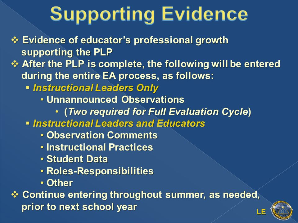 LE Evidence of educators professional growth supporting the PLP Evidence of educators professional growth supporting the PLP After the PLP is complete, the following will be entered during the entire EA process, as follows: After the PLP is complete, the following will be entered during the entire EA process, as follows: Instructional Leaders Only Instructional Leaders Only Unnannounced Observations Unnannounced Observations (Two required for Full Evaluation Cycle) (Two required for Full Evaluation Cycle) Instructional Leaders and Educators Instructional Leaders and Educators Observation Comments Observation Comments Instructional Practices Instructional Practices Student Data Student Data Roles-Responsibilities Roles-Responsibilities Other Other Continue entering throughout summer, as needed, prior to next school year Continue entering throughout summer, as needed, prior to next school year