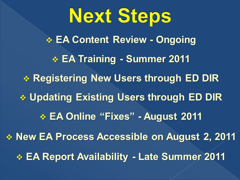 EA Content Review - Ongoing EA Content Review - Ongoing EA Training - Summer 2011 EA Training - Summer 2011 Registering New Users through ED DIR Registering New Users through ED DIR Updating Existing Users through ED DIR Updating Existing Users through ED DIR EA Online Fixes - August 2011 EA Online Fixes - August 2011 New EA Process Accessible on August 2, 2011 New EA Process Accessible on August 2, 2011 EA Report Availability - Late Summer 2011 EA Report Availability - Late Summer 2011