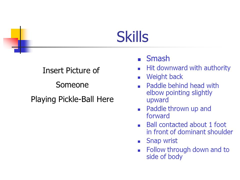 Skills Lob Offensive Defensive Angle of the paddle does the work Offensive – just over opponents head Defensive – hit fairly high (25) Insert Picture
