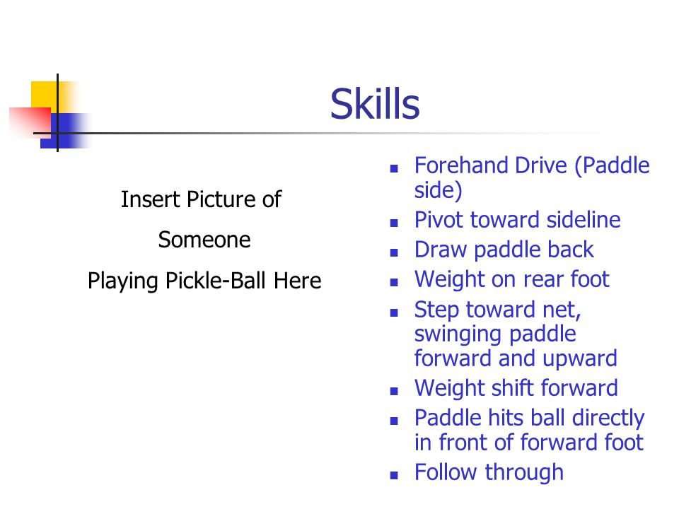 Skills Serve Drive Serve Lob Serve One foot behind back line Serve Underhand Paddle must pass below waist Insert picture of someone serving here.