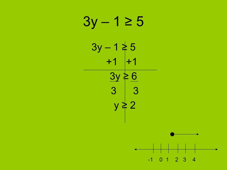 3y – 1 5 3y – 1 5 +1 +1 3y 6 3 3 y 2 -1 0 1 2 3 4