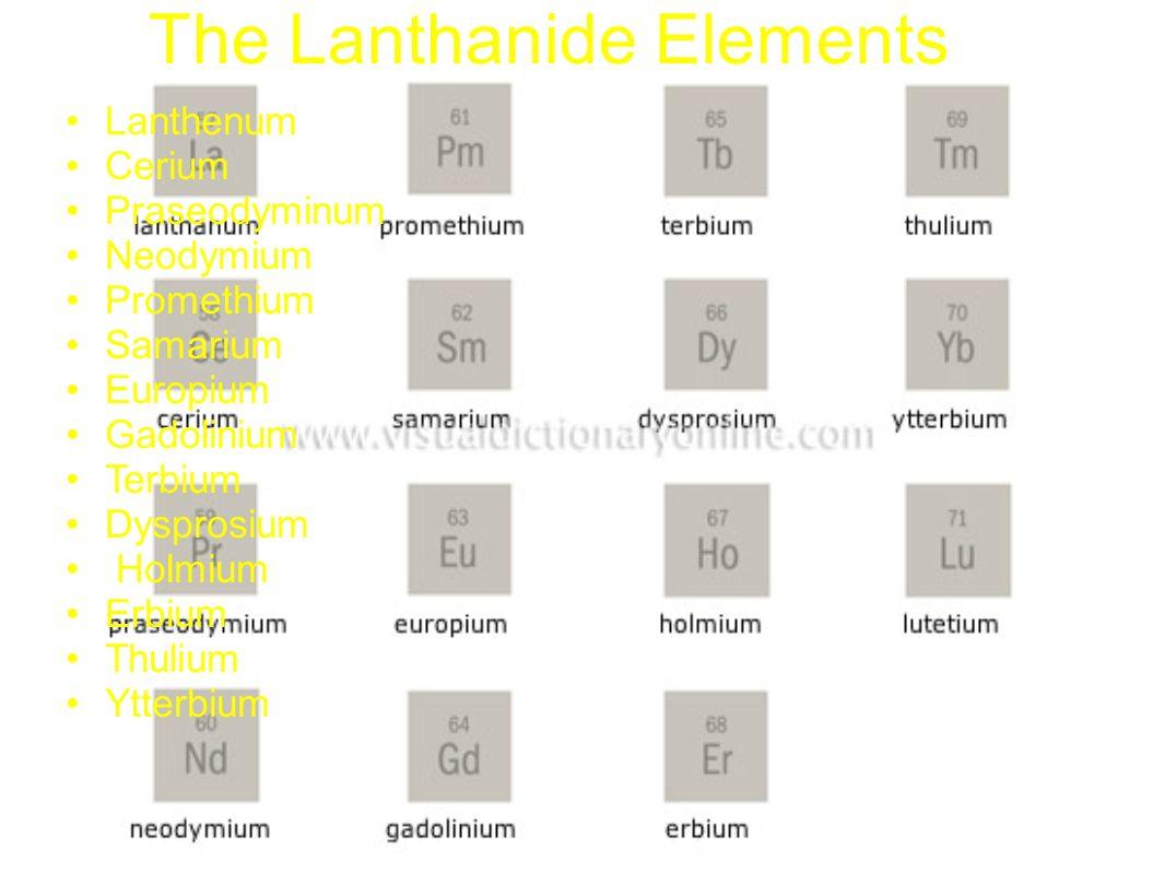 The Lanthanide Elements Lanthenum Cerium Praseodyminum Neodymium Promethium Samarium Europium Gadolinium Terbium Dysprosium Holmium Erbium Thulium Ytt