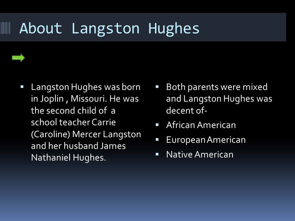 About Langston Hughes Langston Hughes was born in Joplin, Missouri.