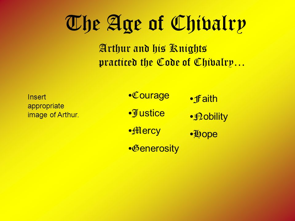 The Age of Chivalry Arthur and his Knights practiced the Code of Chivalry… C ourage J ustice M ercy G enerosity F aith N obility H ope Insert appropri