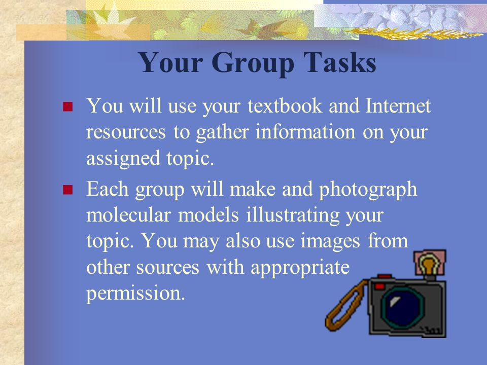 Your Group Tasks You will work in groups of three students, with each member of the group contributing to the presentation.