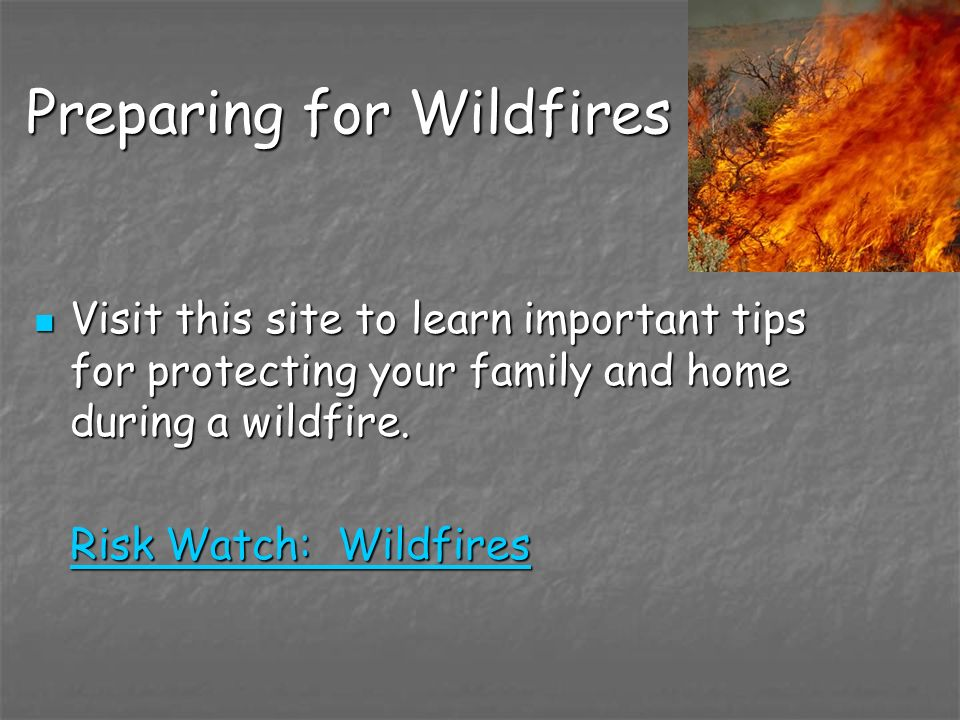 Preparing for Wildfires Visit this site to learn important tips for protecting your family and home during a wildfire. Visit this site to learn import