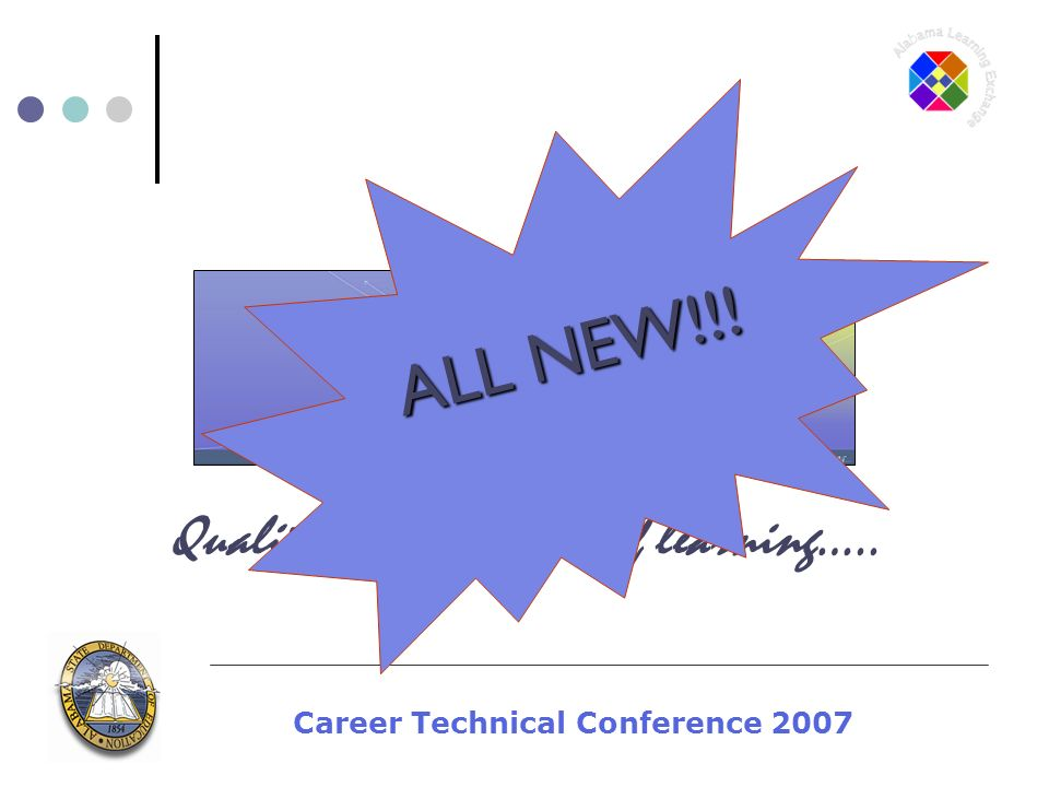 Career Technical Conference 2007 Quality for every facet of learning….. ALL NEW!!!