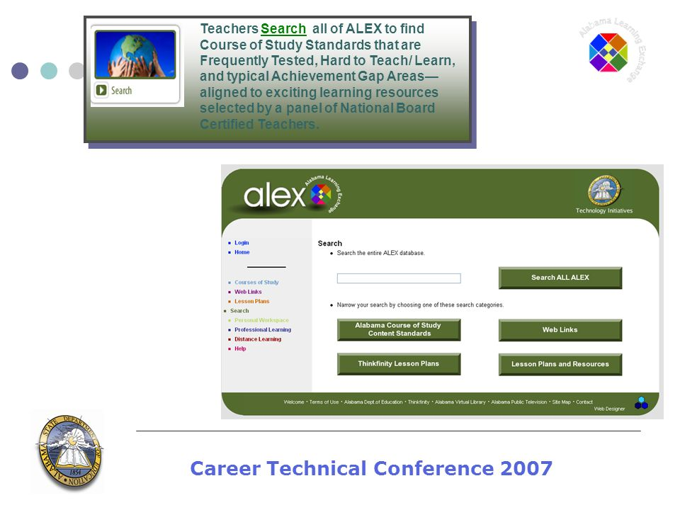Career Technical Conference 2007 Teachers Search all of ALEX to find Course of Study Standards that are Frequently Tested, Hard to Teach/ Learn, and t