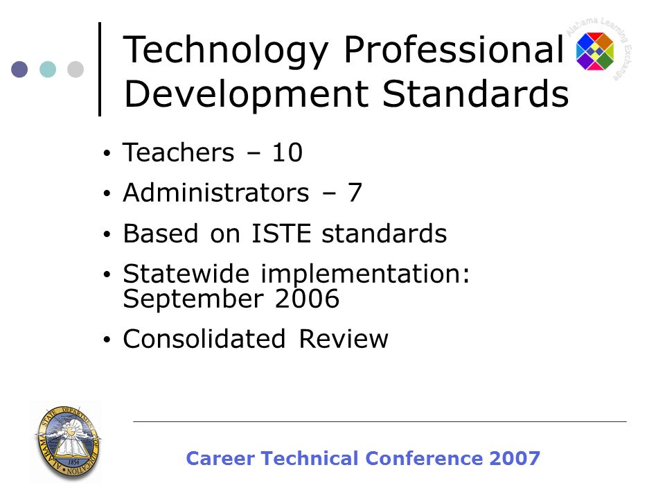Career Technical Conference 2007 Teachers – 10 Administrators – 7 Based on ISTE standards Statewide implementation: September 2006 Consolidated Review