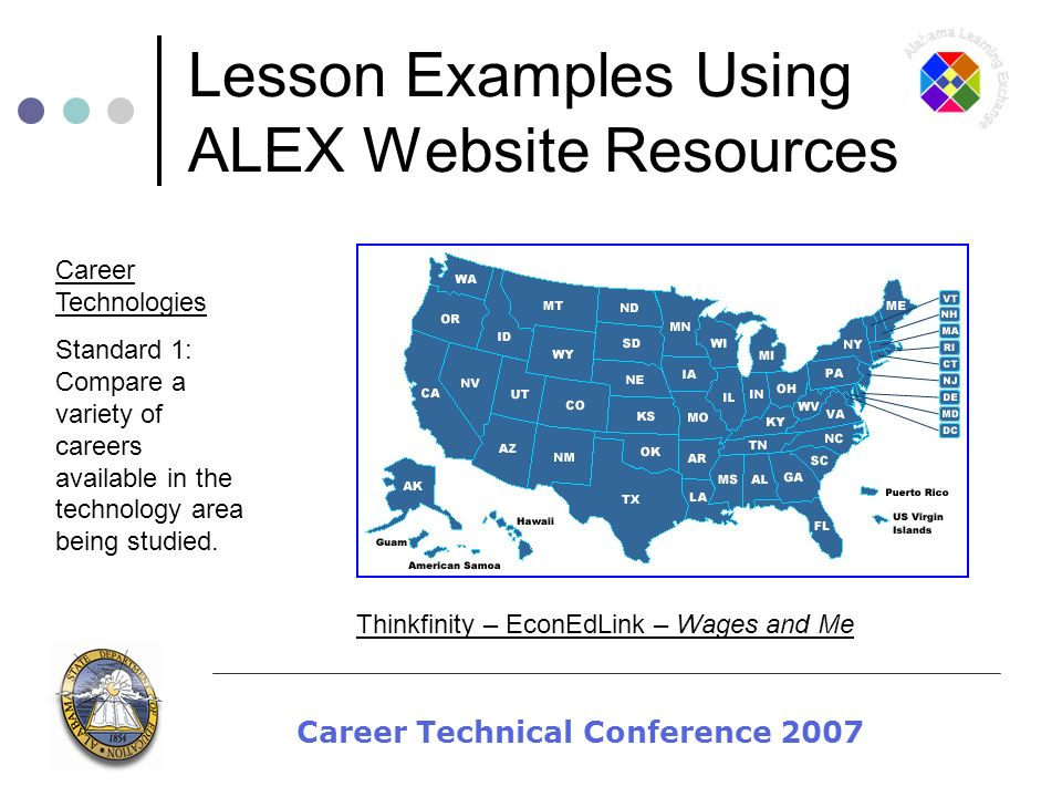 Career Technical Conference 2007 Lesson Examples Using ALEX Website Resources Career Technologies Standard 1: Compare a variety of careers available i