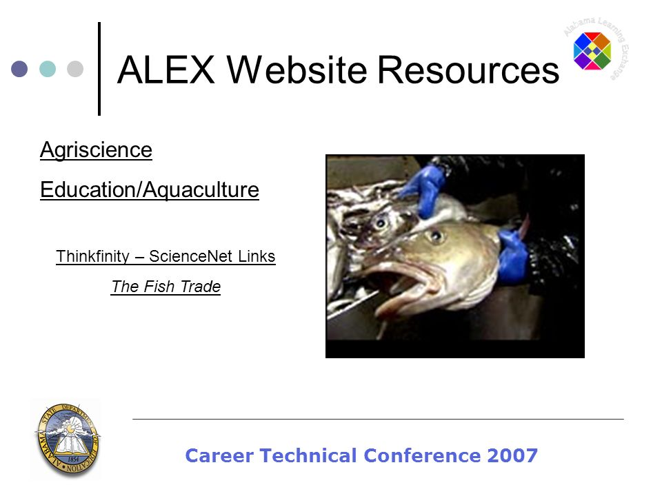 Career Technical Conference 2007 ALEX Website Resources Thinkfinity – ScienceNet Links The Fish Trade Agriscience Education/Aquaculture