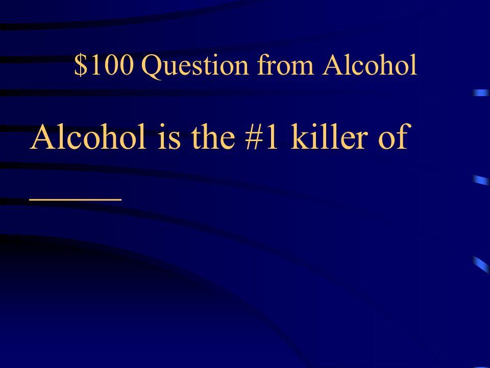Jeopardy Alcohol Tobacco Inhalants Marijuana Steroids Q $100 Q $200 Q $300 Q $400 Q $500 Q $100 Q $200 Q $300 Q $400 Q $500 Final Jeopardy