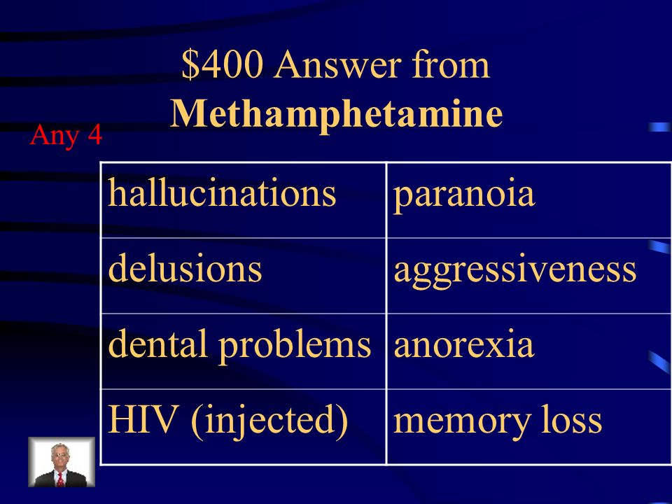 $400 Question from Methamphetamine Four long term effects of using methamphetamine