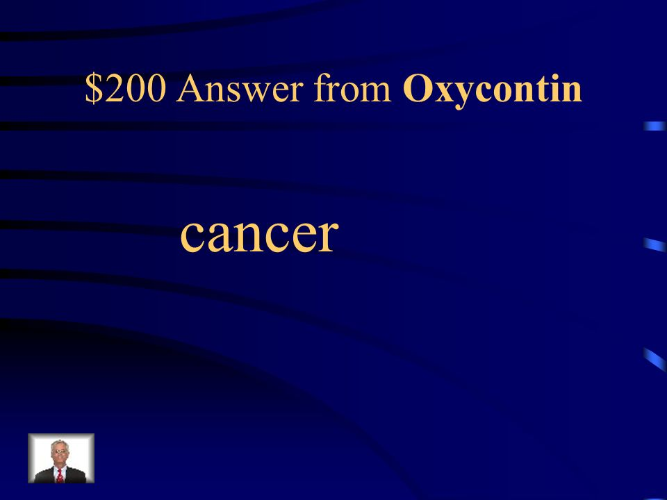 $200 Question from Oxycontin Oxycontin is intended for use by chronic pain sufferers such as _____ patients.