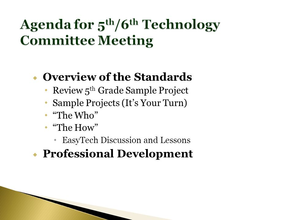 Overview of the Standards Review 5 th Grade Sample Project Sample Projects (Its Your Turn) The Who The How EasyTech Discussion and Lessons Professional Development