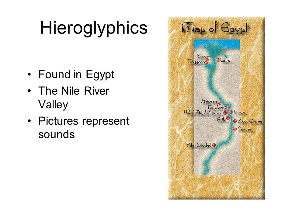 Hieroglyphics Found in Egypt The Nile River Valley Pictures represent sounds