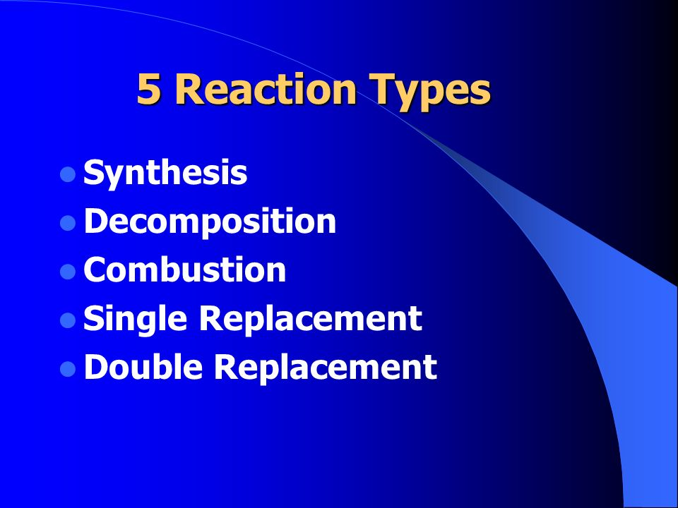5 Reaction Types Synthesis Decomposition Combustion Single Replacement Double Replacement